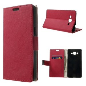 For Samsung Galaxy Grand Prime SM-G530H Maze Pattern Cloth Skin Wallet Stand Leather Case - Rose