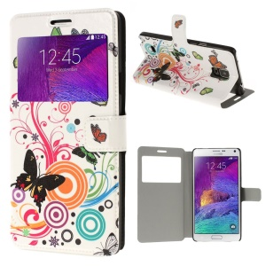 Vivid Butterfly Circle View Window Leather Stand Case for Samsung Galaxy Note 4 N910