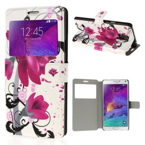 Lotus Flower View Window Leather Stand Cover for Samsung Galaxy Note 4 N910