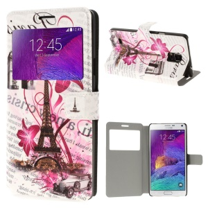 Eiffel Tower & Flowers View Window Stand Leather Case for Samsung Galaxy Note 4 N910
