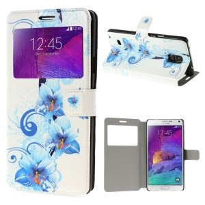 Pretty Blue Flowers View Window Leather Case w/ Stand for Samsung Galaxy Note 4 N910