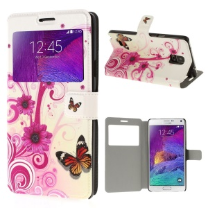 For Samsung Galaxy Note 4 N910 Butterfly & Lace Flowers View Window Leather Shell with Stand