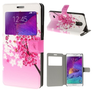 Plum Blossom View Window Leather Bracket Case for Samsung Galaxy Note 4 N910