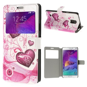 Hearts & Butterflies View Window Leather Skin Case Stand for Samsung Galaxy Note 4 N910 - White Background