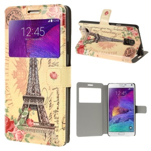 Eiffel Tower & Blooming Roses View Window Leather Flip Case for Samsung Galaxy Note 4 N910