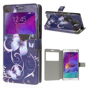Appealing Lavender Butterflies View Window Stand Leather Cover for Samsung Galaxy Note 4 N910