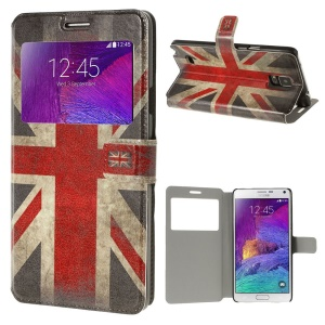Retro UK Flag View Window Leather Phone Case Stand for Samsung Galaxy Note 4 N910