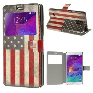 Vintage American Flag View Window Leather Protective Case for Samsung Galaxy Note 4 N910