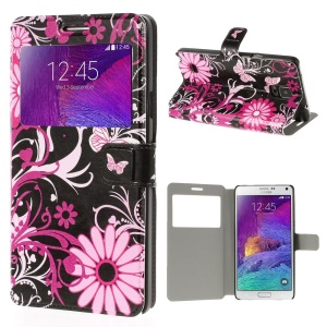 Butterfly & Flora View Window Bracket Leather Shell  for Samsung Galaxy Note 4 N910