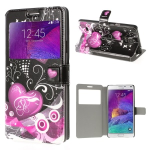 Hearts & Butterflies View Window Leather Stand Case Stand for Samsung Galaxy Note 4 N910 - Black Background