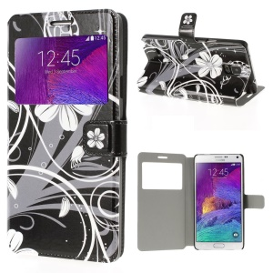 White Flowers View Window Leather Case with Stand for Samsung Galaxy Note 4 N910