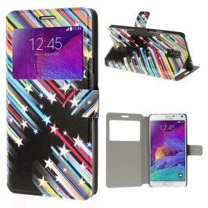 Meteor Shower View Window Leather Protective Case Stand for Samsung Galaxy Note 4 N910