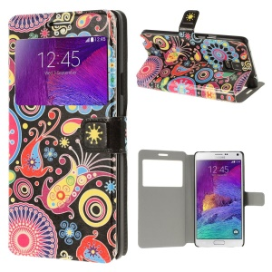 For Samsung Galaxy Note 4 N910 Paisley Flower View Window Stand Leather Case Accessory