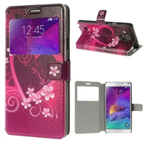 For Samsung Galaxy Note 4 N910 Flowered Heart View Window Leather Stand Case
