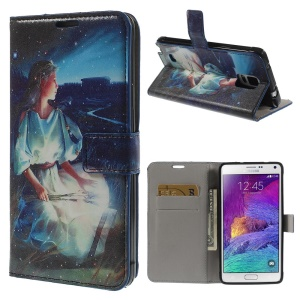 Zodiacal Constellation Leather Wallet Case Stand for Samsung Galaxy Note 4 N910 - Virgo
