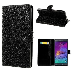 Raindrop Pattern Rhinestone Leather Stand Case w/ Card Slots for Samsung Galaxy Note 4 N910 - Black