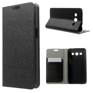 Wood Grain Leather Stand Case w/ Card Slots for Samsung SM-G5108Q Galaxy Core Max Duos - Black