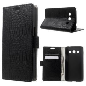 Crocodile Skin Leather Wallet Case w/ Stand for Samsung SM-G5108Q Galaxy Core Max Duos - Black