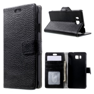 Genuine Full Grain Litchi Skin Wallet Leather Stand Case for Samsung Galaxy Alpha SM-G850F SM-G850A - Black