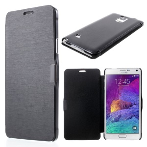 Brushed Magnetic Folio PU Leather Case for Samsung Galaxy Note 4 N910 - Black