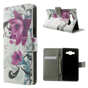 Elegant Lotus Folio Leather Wallet Stand Cover for Samsung Galaxy A5 SM-A500F