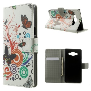 Butterfly Circles Folio Leather Wallet Stand Cover for Samsung Galaxy A5 SM-A500F