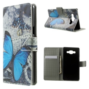 Blue Butterfly Leather Wallet Shell for Samsung Galaxy A5 SM-A500F