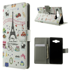 Eiffel Tower & Fruit Leather Wallet Shell for Samsung Galaxy A5 SM-A500F