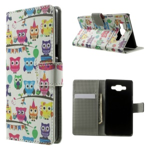 Multiple Owls Magnetic Leather Wallet Case for Samsung Galaxy A5 SM-A500F