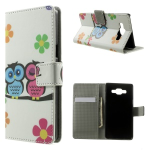 Two Owls & Flowers Leather Wallet Stand Cover for Samsung Galaxy A5 SM-A500F