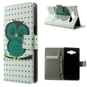 Sleeping Owl & Polka Dots Leather Wallet Shell for Samsung Galaxy A5 SM-A500F