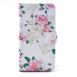 Leather Wallet Case Cover for Samsung Galaxy Alpha G850F G850A w/ Stand - Pink Roses