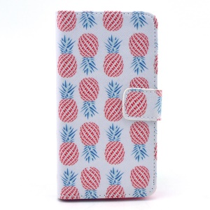 Leather Wallet Case Cover for Samsung Galaxy Alpha G850F G850A w/ Stand - Multiple Pineapples