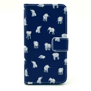 Leather Wallet Stand Case for Samsung Galaxy Alpha G850F G850A w/ Stand - Multiple Elephants Blue Background