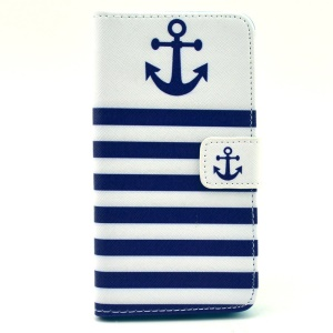 Leather Wallet Stand Case Cover for Samsung Galaxy Alpha G850F G850A - Anchor & Blue Sea