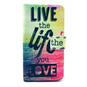 Color Painting Leather Wallet Stand Case Cover for Samsung Galaxy Alpha G850F G850A - Sea & Quote
