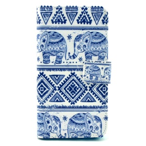 Color Painting Leather Wallet Stand Case Cover for Samsung Galaxy Alpha G850F G850A - Tribal Pattern and Elephants Prints