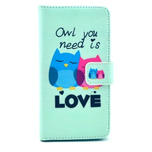 Color Painting Leather Case Cover for Samsung Galaxy Alpha G850F G850A - Sweet Owl Couple & Quote