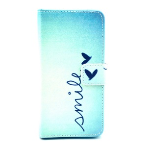 Color Painting Leather Wallet Stand Case Cover for Samsung Galaxy Alpha G850F G850A - Butterfly & Quote Smile