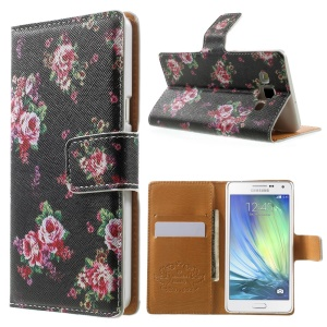 Blooming Roses Leather Wallet Case for Samsung Galaxy A5 SM-A500F w/ Stand