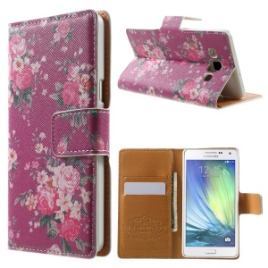 Charming Peony Leather Wallet Shell for Samsung Galaxy A5 SM-A500F