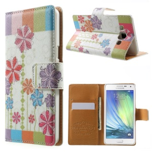 Colorful Daisy Flip Leather Wallet Cover for Samsung Galaxy A5 SM-A500F