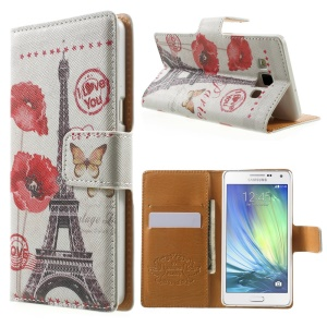 Eiffel Tower & Butterfly Leather Wallet Shell for Samsung Galaxy A5 SM-A500F