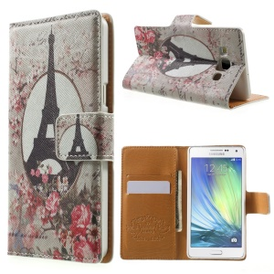 Eiffel Tower & Flowers Leather Wallet Case for Samsung Galaxy A5 SM-A500F