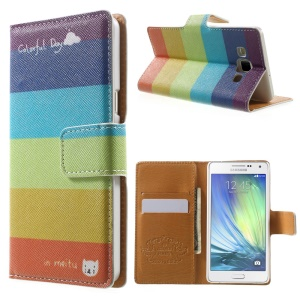 Colorful Horizontal Stripes Leather Wallet Cover for Samsung Galaxy A5 SM-A500F