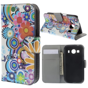 Flowers & Circles PU Leather Wallet Case for Samsung Galaxy Ace Style LTE G357FZ / Ace 4 G357FZ