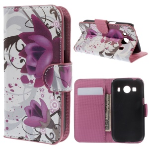 Pretty Lotus Leather Wallet Cover Stand for Samsung Galaxy Ace Style LTE G357FZ / Ace 4 G357FZ