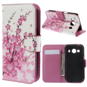 Plum Blossom Leather Stand Shell Wallet for Samsung Galaxy Ace Style LTE G357FZ / Ace 4 G357FZ