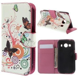 Butterflies & Circles Leather Skin Case Wallet for Samsung Galaxy Ace Style LTE G357FZ / Ace 4 G357FZ