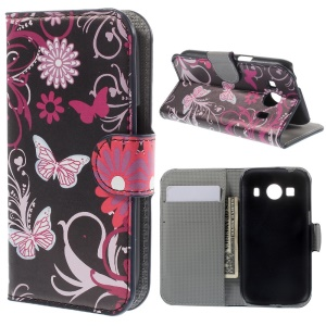 Butterflies & Flora Leather Stand Cover Wallet for Samsung Galaxy Ace Style LTE G357FZ / Ace 4 G357FZ